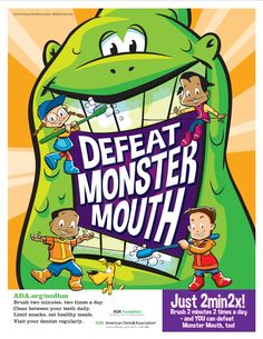 """It's National Children's Dental Health Month! Click to download campaign materials and encourage you patients to fight """"Monster Mouth"""" all month long. #2min2x #NCDHM"""