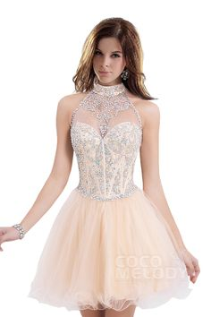 Sparkle A-Line High Neck Natural Short-Mini Tulle Champagne Sleeveless Zipper Party Dress with Beading COZM1402C