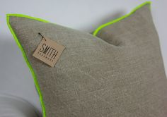 "18"" Square Linen Cushion Cover, Edged in pop of colour.  Approx. 18"" square; 100% Linen; Envelope closure."