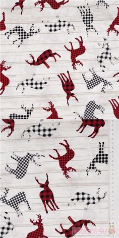 off-white cotton fabric with silhouettes of plaid-patterned reindeer in black, white, grey and red, very high quality fabric, typical great Timeless Treasures quality #Cotton #Animals #AnimalPrint #Christmas #Deer #USAFabrics Christmas Fabric, Plaid Christmas, Deer Fabric, Kawaii, Red Plaid, White Cotton, Reindeer, Off White, Cotton Fabric