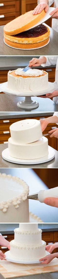How to assemble, decorate, transport and disassemble a wedding cake. Good for any multi-tier cake assembly.