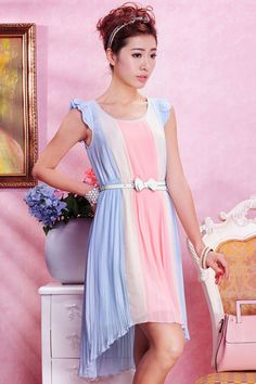 ROMWE | Flouncing Cuffs Blue Dress, The Latest Street Fashion