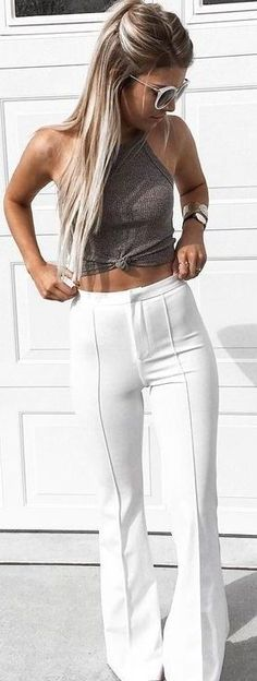 #summer #young #outfits | Grey Knit Crop + White Flares