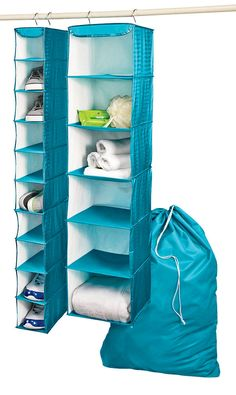 Utilize your small dorm room space. 3 essential storage pieces for closets - hanging shoe organizer, hanging shelves and laundry bag #shopko