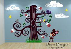Huge Nursery Nature Tree Scene Vinyl Wall Decal by DecorDesigns, $199.99