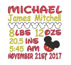 Baby Birth Announcement Template Embroidery Design Baby Boy