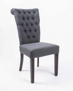 Stuhl gepolstert anthrazit, Stuhl Chesterfield im Landhausstil