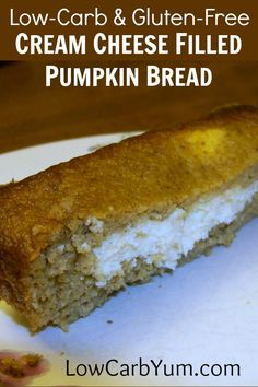A delicious cream cheese filled pumpkin bread. This gluten free pumpkin bread has a sweet and creamy filling made with cream cheese. It& a fabulous treat. Low Carb Sweets, Low Carb Desserts, Gluten Free Desserts, Gluten Free Recipes, Low Carb Recipes, Diabetic Desserts, Diabetic Recipes, Easy Recipes, Ketogenic Desserts