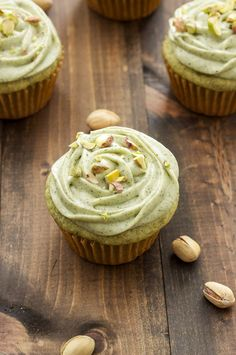 Pistachio Green Tea Cupcakes with Matcha Cream Cheese Frosting