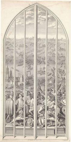 Pieter Tanjé | Glasraam 25 in de Sint-Janskerk te Gouda: Het ontzet van Leiden, Pieter Tanjé, Pieter Mortier (II), 1738 - 1754 | Het vijfentwintigste glasraam in de Sint-Janskerk te Gouda met de voorstelling van het ontzet van Leiden op 3 oktober 1574. Op de voorgrond de prins van Oranje staande tussen Leidenaren, soldaten en geuzen. Op de achtergrond vertrekken de boten van de geuzen richting Leiden.