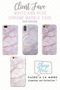 Stunning white and rose gold chrome marble case available for all iPhone models by CASES A LA MODE. Girly Phone Cases, Iphone Phone Cases, Phone Covers, Gifts For Techies, Iphone Shop, Technology Gifts, Phone Cases Marble, Phone Gadgets, Tech Gadgets