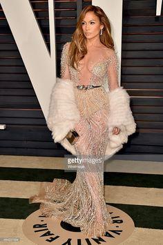 Jennifer Lopez in Muhair Zurad at 2015 Vanity Oscar party
