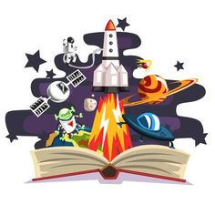 Open book with rocket, astronaut, planets, stars, UFO space ship. Plot Outline, School Murals, Banner Printing, Open Book, Cute Images, Rangoli Designs, Ufo, Spaceship, Vector Art