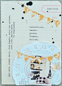 typewriter print, doily, and pennants in yellow, white, and black