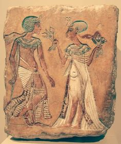 Walk In The Garden New Kingdom, 18th dynasty, c. 1335 BC  A relief of a royal couple in the Amarna style; figures have variously been attributed as Akhenaten and Nefertiti, Smenkhkare and Meritaten, or Tutankhamun and Ankhesenamun.