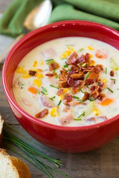 Another delicious soup to add to the recipe rotation! I really can never have enough soup recipes, especially when they are this creamy and loaded with goodness! Growing up we ate a lot of potato soup. My mom would make it either with ham (when we had a left over roast) or with hot dogs. I know ew (this is where
