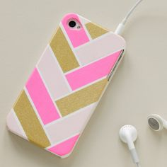 Get creative with washi tape by making geometric patterns on your phone case.