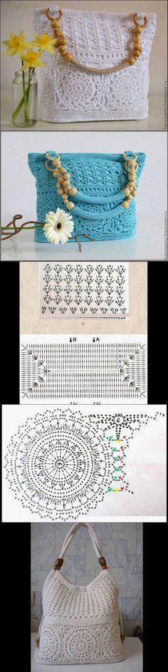 """Bolsos Más [ """"I love the handles"""", """"Super sac crochet"""" ] # # # # # # # # # Crochet World, Mode Crochet, Crochet Shell Stitch, Crochet Diy, Crochet Chart, Crochet Stitches, Crochet Ideas, Crochet Handbags, Crochet Purses"""