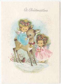 Vintage-Greeting-Card-Christmas-Glitter-Angels-Deer-Snow-Cute-Girls-j845