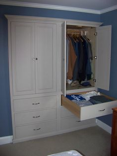 This cabinet was built and installed in a standard double sliding door closet to maximize storage.  you prob have some of these kind of closets?  Always a ton of lost room at the bottom in these styles. Great way to make storage in your house!  :)