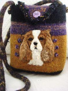 Cavalier King Charles Spaniel dog black gold by FeltedFantasies ♡