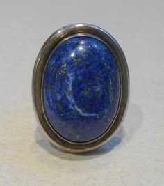 Big sterling silver lapiz lazuli stone ring. I love this stone and have some jewelry with it already!