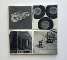 Vintage Detroit Red Wing Coasters by HashtagCoasters on Etsy