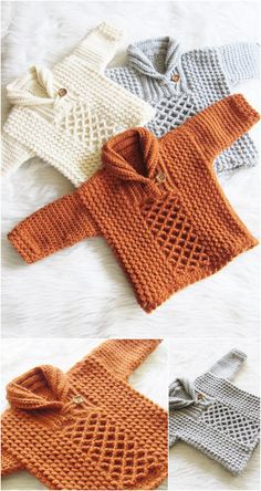 These free crochet sweater patterns, cardigans, shrugs, pullovers, long sweaters are going to love by all of you because all of them are beginners-friendly.These free crochet baby sweater patterns will give your motherhood a sweet and interesting chance t Cardigan Au Crochet, Crochet Baby Sweater Pattern, Crochet Baby Sweaters, Baby Sweater Patterns, Baby Clothes Patterns, Baby Patterns, Crochet Clothes, Crochet Patterns For Baby, Baby Boy Knitting Patterns Free