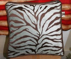 Rustic Turquoise Zebra Western Pillow