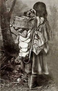 San Carlos Apache mother and child - 1886༺ ♠ ༻*ŦƶȠ*༺ ♠ ༻So cute, seeing the little one peek out