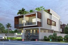 Balcony Modern House Terrace Design A balcony is not only aesthetically refined arena of your home it adds comfort to the living space and redefines lifestyle. Terrace design for small h. 2 Storey House Design, Bungalow House Design, House Front Design, Two Storey House, Modern Bungalow Exterior, Classic House Exterior, Modern Small House Design, House Design Photos, Architectural House Plans