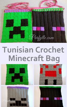 Tunisian crochet Minecraft character drawstring bags