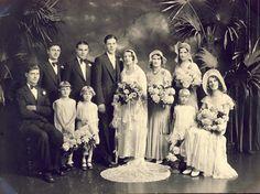 Wonderful EDWARDIAN WEDDING PHOTO with Full Wedding Party Circa 1910s