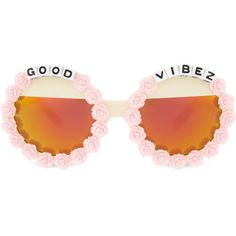 RAD AND REFINED Good Vibez round-frame sunglasses (€39) ❤ liked on Polyvore featuring accessories, eyewear, sunglasses, extra, pink, multi, pink sunglasses, floral print sunglasses, acetate glasses and mirror lens sunglasses