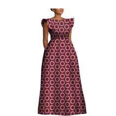 Ankara women maxi party dress customized short sleeve o-neck floor length women A-Line 100% cotton dress