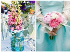 Aqua and Pink wedding colours