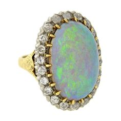 A Simply Exquisite And Unusual Opal Diamond Ring From The Victorian Era This Fabulous