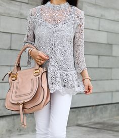 Chicwish Art of Crochet Top in Grey, Chloe marcie small leather satchel, louboutin pigalle nude pumps, Tophop petite molly blazer
