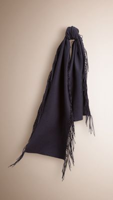 Burberry Navy Fringe Scarf in Cashmere - The Fringe Scarf in solid colour cashmere. Woven in Scotland, the design is finished with fringing along both sides. Discover the scarves collection at Burberry.com