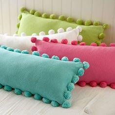 pom pom pillow cover | More stripes, polka dots and pom poms here: http://mylusciouslife.com/colour-textiles-stripes-polka-dots-pom-poms/