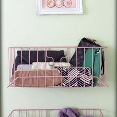 Small Closet Organization Ideas--wire baskets to collect misc. things!