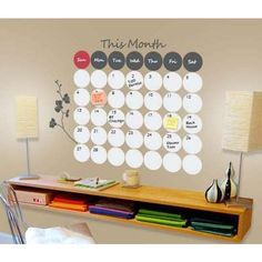 Dry Erase Wall Calendar..love the idea but I think I would put it behind glass instead and mount it to the wall, that way I can move it whenever and wherever since Ladd and I won't have a permanent home for a while