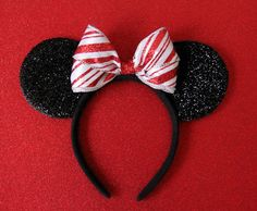 Christmas Mickey Ears Christmas Minnie Ears Candy Cane by Ulous