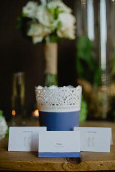 blue Skurar plant pot (IKEA) - Milwaukee Wedding from Lexia Frank Photography