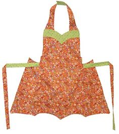 Chatterbox Apron   from Mary Mulari     This reversible apron has a sweetheart neckline, an umbrella hemline, and pockets on the sides. There is plenty of room for you to add embellishments on this cute, old fashioned classic. You only need 2 yards of fabric to sew this quick and easy project!    $8.50