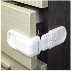 4PCS Baby Safety Supplies Child Lock Cabinet Drawer Lock Prevent Baby Refrigerator Lock Infant Safety Lock Double Buckle Plastic