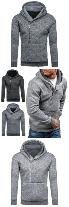 new Korean male hoodies Autumn winter Hooded Double zipper personality casual Sweatshirts Loose all-match men coat 30