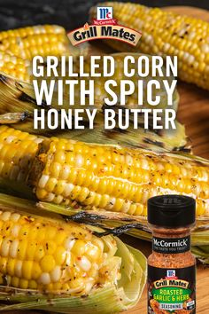 A summer cookout isn't complete without grilled corn on the cob. Try this spicy homemade honey butter recipe to take this classic to the next level! Corn Dishes, Veggie Dishes, Side Dishes, Great Recipes, Snack Recipes, Favorite Recipes, Snacks, Homemade Honey Butter Recipe, Grilling Recipes