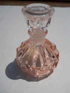 Peachy Pink Cut Glass Vintage Perfume Bottle