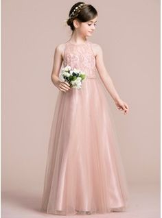 5d2a424d14455 A-Line/Princess Scoop Neck Floor-Length Tulle Junior Bridesmaid Dress  (009095100)